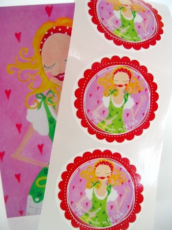 ♥HANDMADE WITH LOVE♥Sticker ROSIE 20pieces 5cm