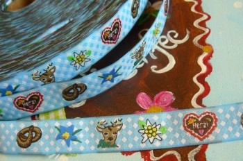 ♥HERZI♥ Ribbon BAVARIAN FOLK skyblue PRICE PER METER