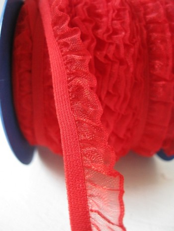 ♥RUFFLes♥RED elastic RIBBON