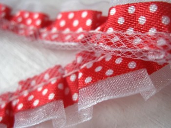 ♥RUFFLes♥RED non-elastic RIBBON dots