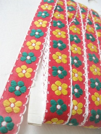 ♥HIPPIE RETRO FLOWERS♥ribbon RED