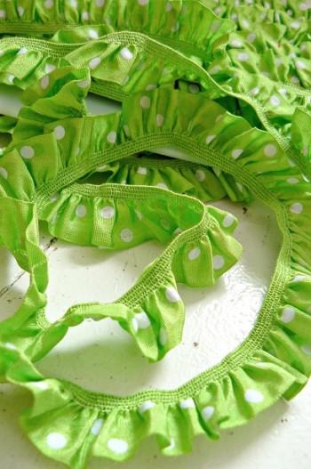 ♥RUFFLes♥fairyGREEN POLKA DOTS elastic RIBBON