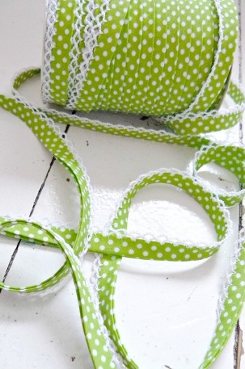 ♥DOTTIES♥ appleGREEN Polka Dots non-elastic RIBBON