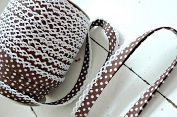 ♥DOTTIES♥BROWN non-elastic RIBBON BINDING