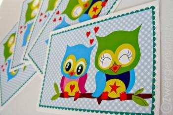 ♥EULENschön♥ Love EULEN Postkarten-SET 3STCK