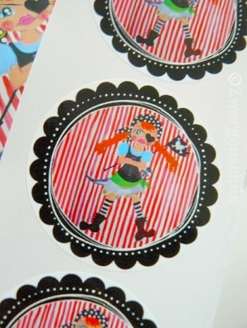 ♥PIRATE GIRL♥Sticker SET of 20 pieces 5cm