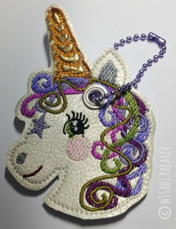 ♥HANGOVER♥ UNICORN Key Fob Snap TAB 10x10cm EMBROIDERY FILE Ith