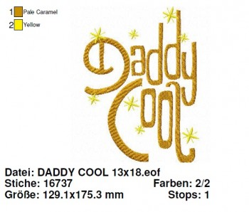 ♥DADDY COOL♥ Stickdatei 13x18 1€-SPARbie