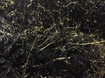 ♥GLITZER-ZOTTEL♥ 0.5m FELL Fake FUR black GOLD Glitzer
