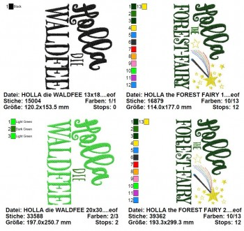 ♥HOLLA the FOREST FAIRY♥ 1€-SPARbie EMROIDERY File 13x18 20x30cm