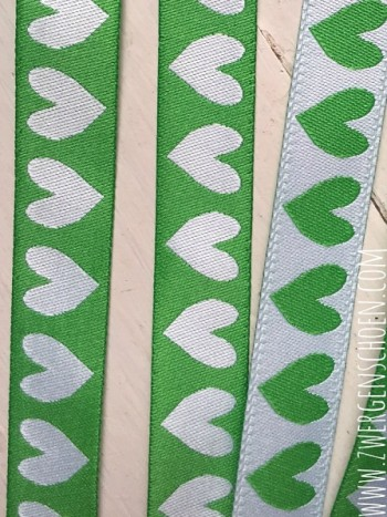 ♥HERZchenSCHoeN♥ Ribbon GREEN&WHITE 2in1 Price per METER