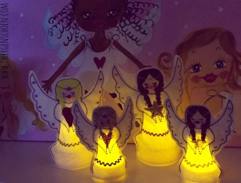 ♥LED-TEALIGHT-COVER♥ Embroidery FILE-Set ANGEL LIGHTS 10x10cm