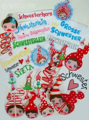 ♥MISSI Zwergenschön♥ SPEZIAL Stickmuster-SET 13x18 inkl. SCHRIFTEN