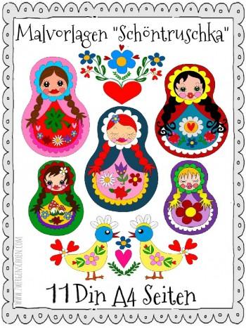 ♥MALvorlagen♥ DIN A4 MATRUSCHKA Zwergenschoen RUSSIAN DOLL