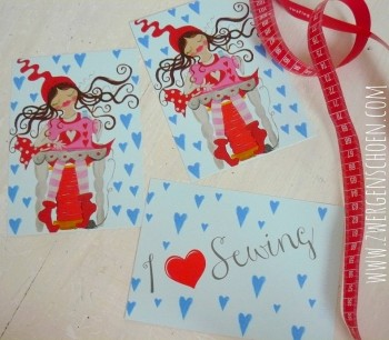 ♥MILLI in LOVE with SEWING♥ Postkarten SET 3STÜCK