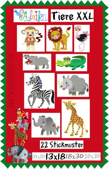 ♥ANIMALS of AFRICA♥ Embroidery-File-XXL-Mega-SET 10x10 13x18 18x30 20x30cm