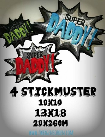 ♥SUPER DADDY♥ 1€-SPARbie STICKMUSTER 10x10 13x18 20x26cm