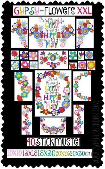 ♥GYPSY-Flowers XXL♥ Stickmuster BOHO Blumen 10x10 13x18 18x30 20x26 20x30cm
