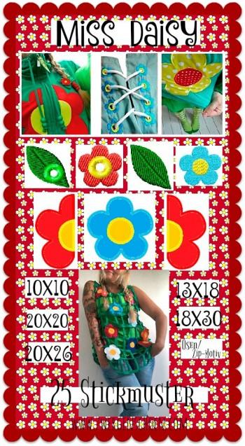 ♥MISS DAISY♥ Stickmuster BLUMEN 10x10 13x18 20x20 20x26 18x30cm