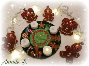 ♥GINGERSCHÖN♥ AdventsKRANZ to go ITH 20x20cm LEBKUCHEN Love