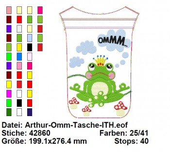 ♥FROGPRINCE Arthur♥ Embroidery FILE Zipper Bag ITH 20x30cm