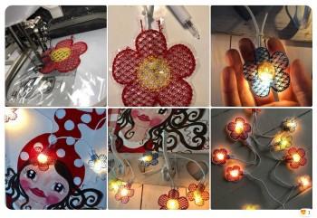 ♥Miss Daisy LED-LICHTERKETTE♥ Stickdatei ITH 10x10cm BLUMEN