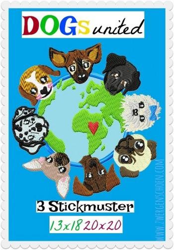 ♥DOGs UNITED♥ Stickmuster 13x18 20x20cm