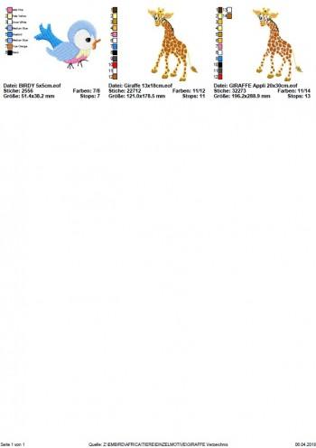 ♥GIRAFFE♥ Stickmuster EINZELMOTIV Afrika 10x10 13x18 20x30cm