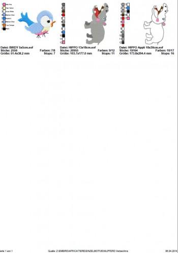 ♥NILPFERD♥ Stickmuster HIPPO Einzelmotiv SAFARI Afrika 13x18 18x30cm