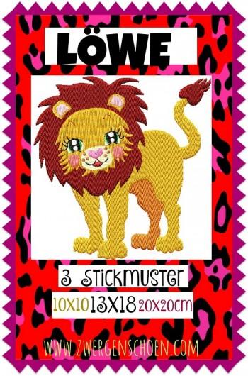 ♥LÖWE♥ Stickmuster EINZELMOTIV Afrika 10x10 13x18 20x20cm