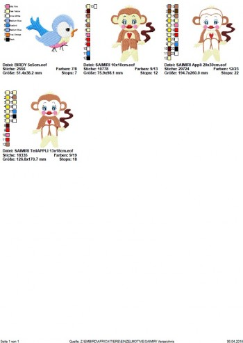♥SAIMIRI♥ Stickmuster AFFE Äffchen EINZELMOTIV 10x10 13x18 20x26cm