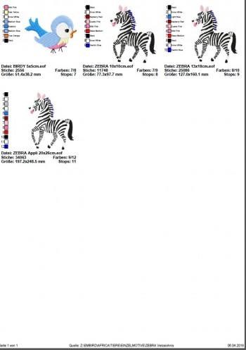 ♥ZEBRA♥ Stickmuster Einzelmotiv SAFARI Afrika 10x10 13x18 20x26cm