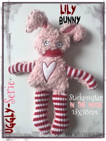 ♥LILY Bunny♥ Stickmuster ITH 13x18cm UGGLY SERIE