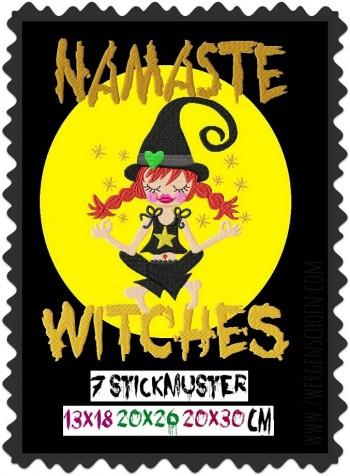 ♥NAMASTE WITCHES♥ Stickmuster HEXE Yoga 13x18 20x26 20x30cm