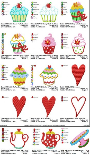 ♥little FAIRY CAKES♥ Stickmuster MUFFINs Cupcakes SWEET KITCHEN 10x10cm