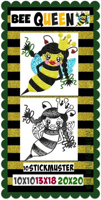 ♥BEE Queen♥ Stickmuster BIENENKÖNIGIN 10x10 13x18 20x20cm