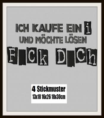 ♥ICH KAUFE EIN i♥ STICKMUSTER Einzelmotiv 13x18 16x26 18x30cm