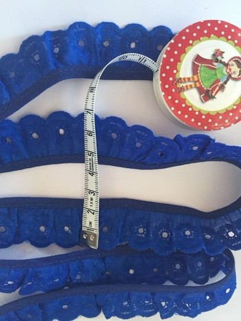♥LINGERIE♥ RUffles RIBBON cotton SHABBY CHIC royalblue PRICE PER METER
