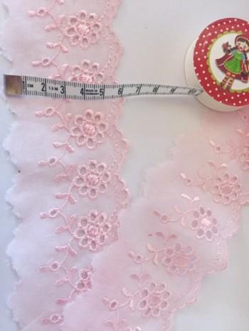 ♥WÄSCHESPITZE♥ light ROSE 6cm LOCHSTICKEREI Batist BOGENKANTE rosa