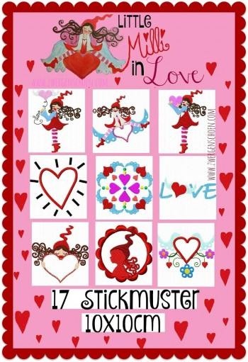 ♥little MILLI in LOVE♥ Stickmuster 10x10cm