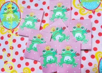 ♥FROGPRINCE ARTHUR♥ Woven LABEL pink 5x5cm PRICE per ONE!