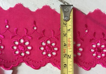 ♥LINGERIE♥ Batist COTTON DARK PINK 6cm price per meter