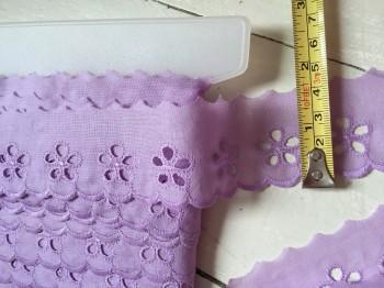 ♥WÄSCHESPITZE♥ violett 4cm LOCHSTICKEREI Batist BOGENKANTE