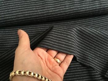 ♥CUFF♥ 0.25m STRIPES black/grey JERSEY