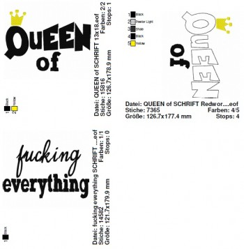 ♥QUEEN of fucking EVERYTHING♥ 1€-SPARbie Stickmuster 13x18cm