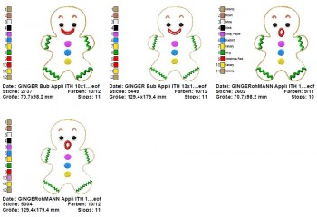 ♥GINGERbreadMAN♥ Embroidery FILE-Set IN THE HOOP 10x10 13x18cm