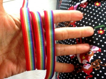 ♥RAINBOW♥ RUBBER elastic RIBBON Price per METER