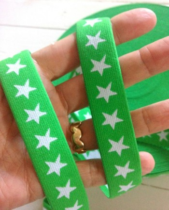 ♥SUPERSTARS♥ elastic RIBBON rubber GREEN price per meter