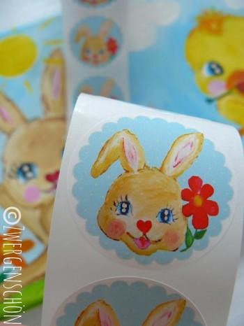 ♥HAPPY HASENSCHÖN♥ himmelblauer SWEET Bunny AUFKLEBER 20Stck.