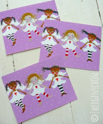 ♥HIMMELSCHoeN united♥ GUARDIAN ANGEL violet 3pieces postcard-SET